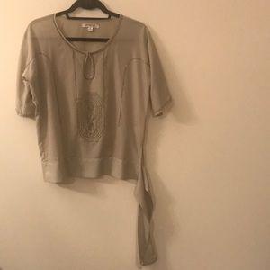 Short sleeve beaded blouse